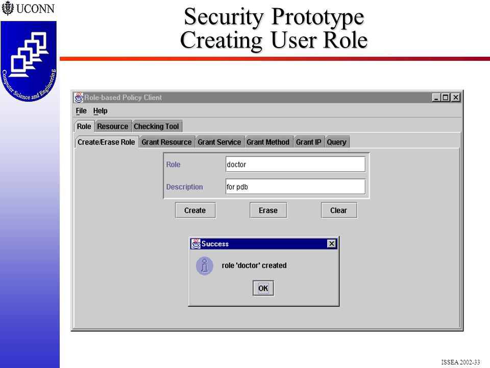 ISSEA 2002-33 Security Prototype Creating User Role