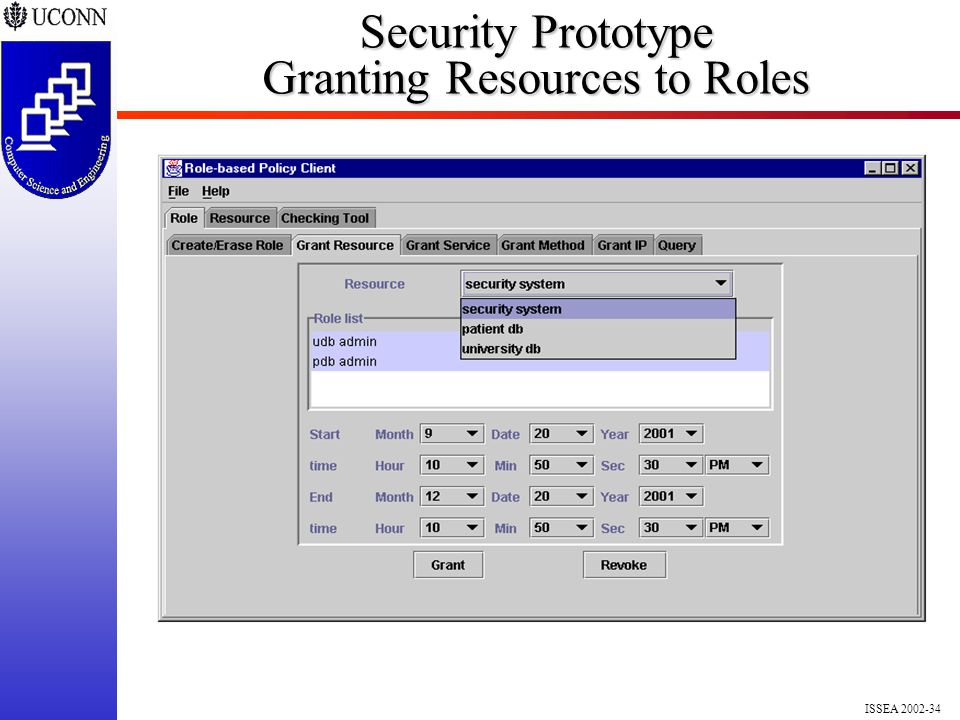 ISSEA 2002-34 Security Prototype Granting Resources to Roles