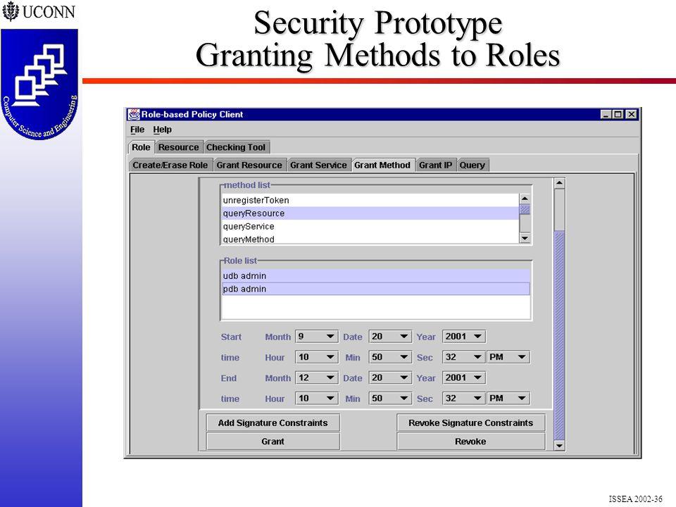 ISSEA 2002-36 Security Prototype Granting Methods to Roles