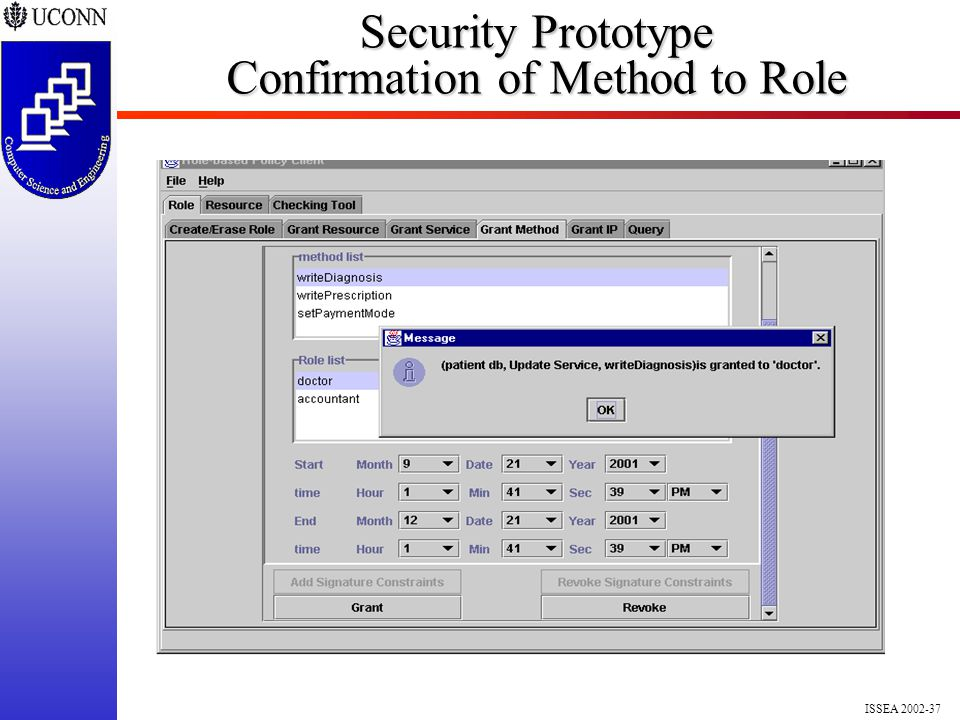 ISSEA 2002-37 Security Prototype Confirmation of Method to Role