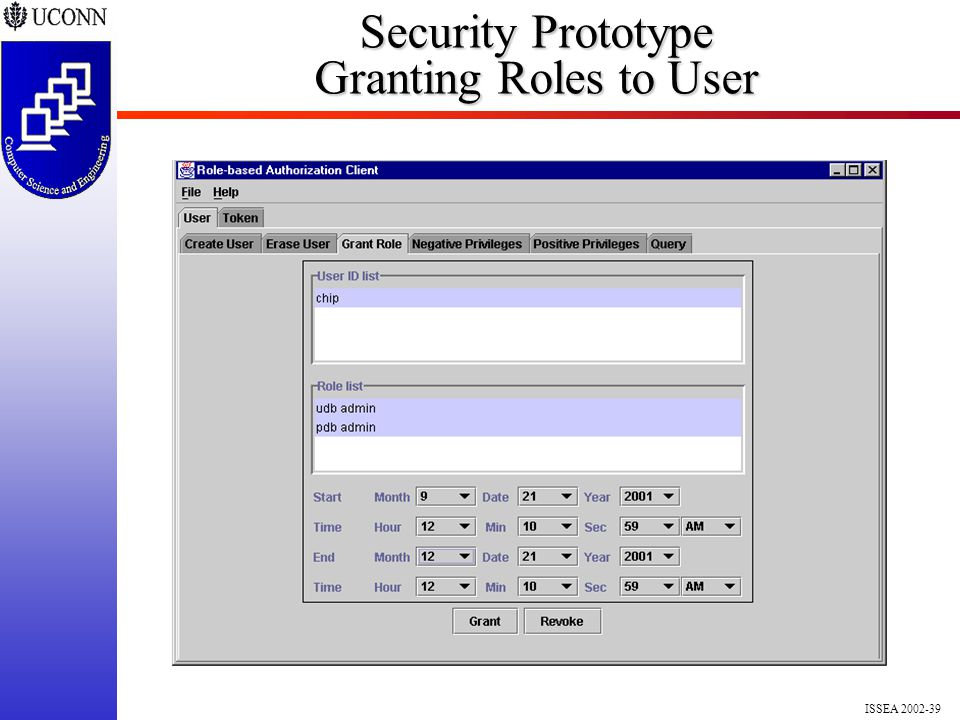 ISSEA 2002-39 Security Prototype Granting Roles to User
