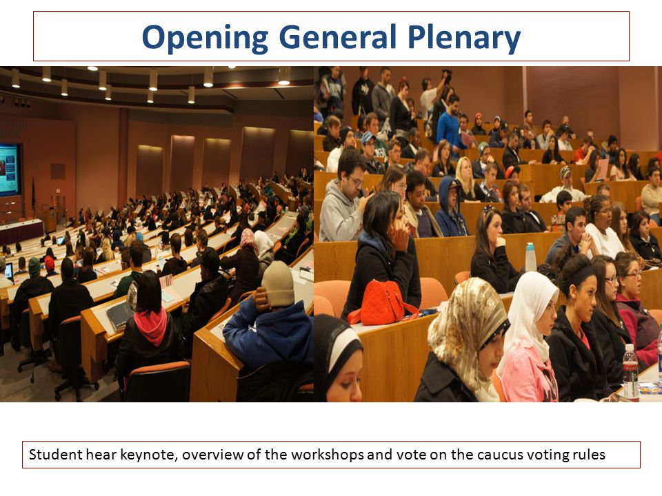 Opening General Plenary Student hear keynote, overview of the workshops and vote on the caucus voting rules