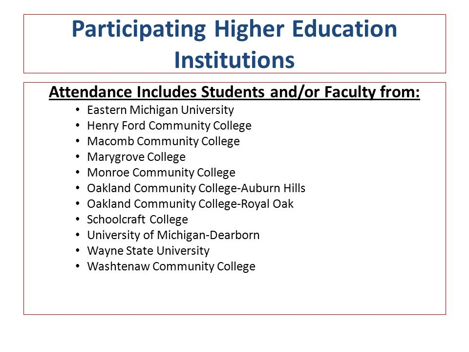 Participating Higher Education Institutions Attendance Includes Students and/or Faculty from: Eastern Michigan University Henry Ford Community College Macomb Community College Marygrove College Monroe Community College Oakland Community College-Auburn Hills Oakland Community College-Royal Oak Schoolcraft College University of Michigan-Dearborn Wayne State University Washtenaw Community College
