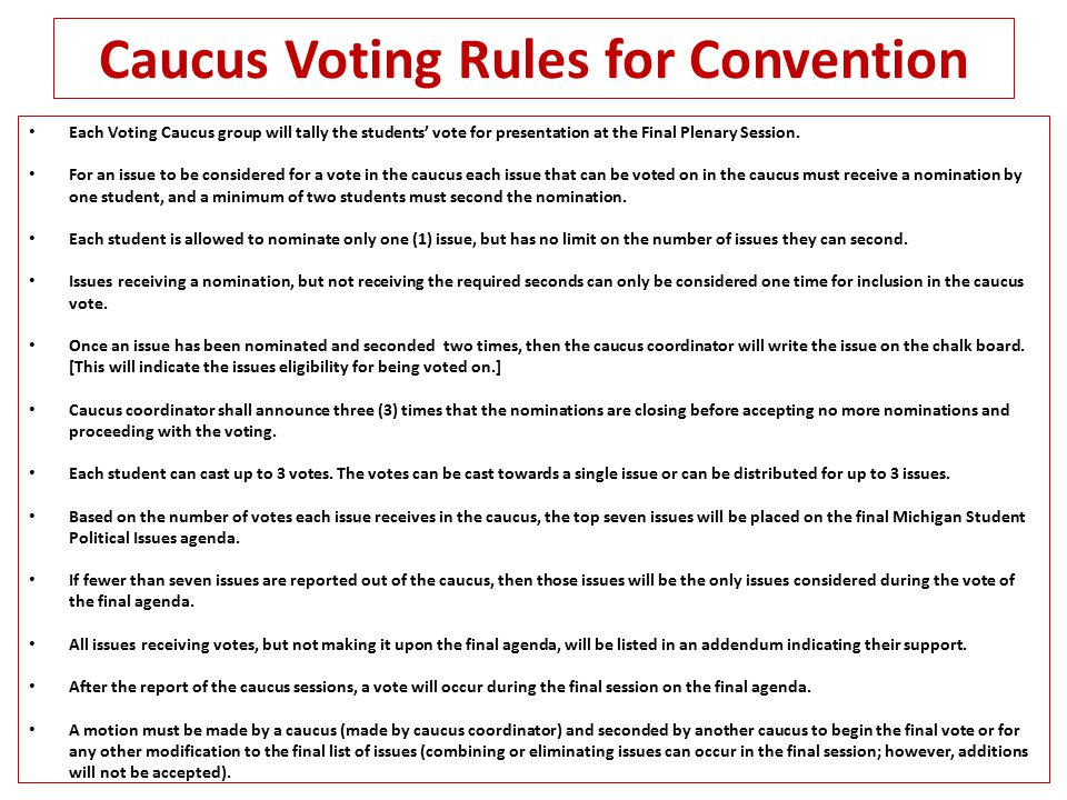 Caucus Voting Rules for Convention Each Voting Caucus group will tally the students' vote for presentation at the Final Plenary Session.