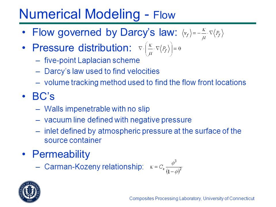 Composites Processing Laboratory, University of Connecticut Numerical Modeling - Flow Flow governed by Darcy's law: Pressure distribution: –five-point Laplacian scheme –Darcy's law used to find velocities –volume tracking method used to find the flow front locations BC's –Walls impenetrable with no slip –vacuum line defined with negative pressure –inlet defined by atmospheric pressure at the surface of the source container Permeability –Carman-Kozeny relationship: