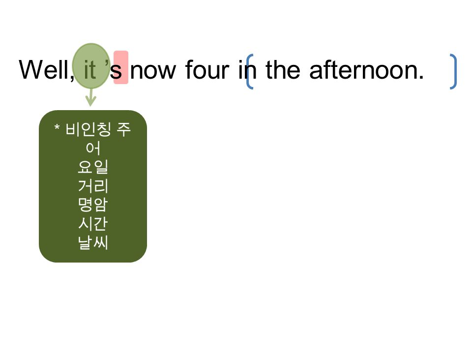 Well, it 's now four in the afternoon. * 비인칭 주 어 요일 거리 명암 시간 날씨