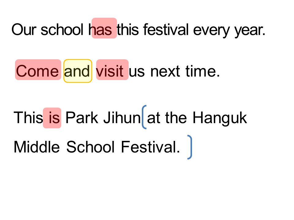 Our school has this festival every year. Come and visit us next time. This is Park Jihun at the Hanguk Middle School Festival.