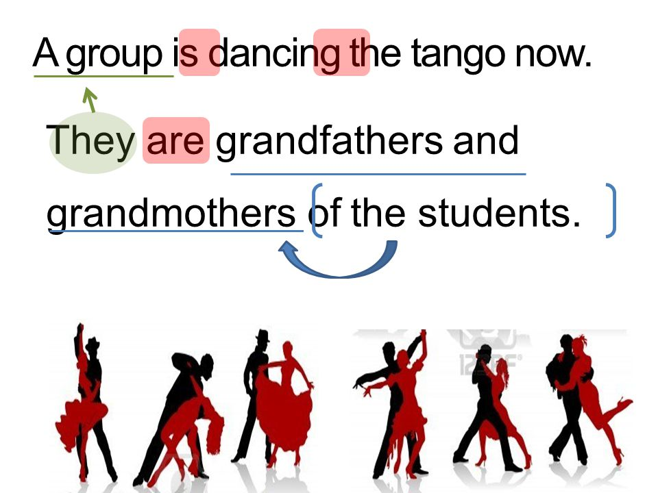 A group is dancing the tango now. They are grandfathers and grandmothers of the students.