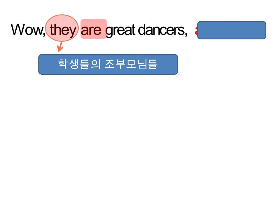 Wow, they are great dancers, aren't they ? 학생들의 조부모님들