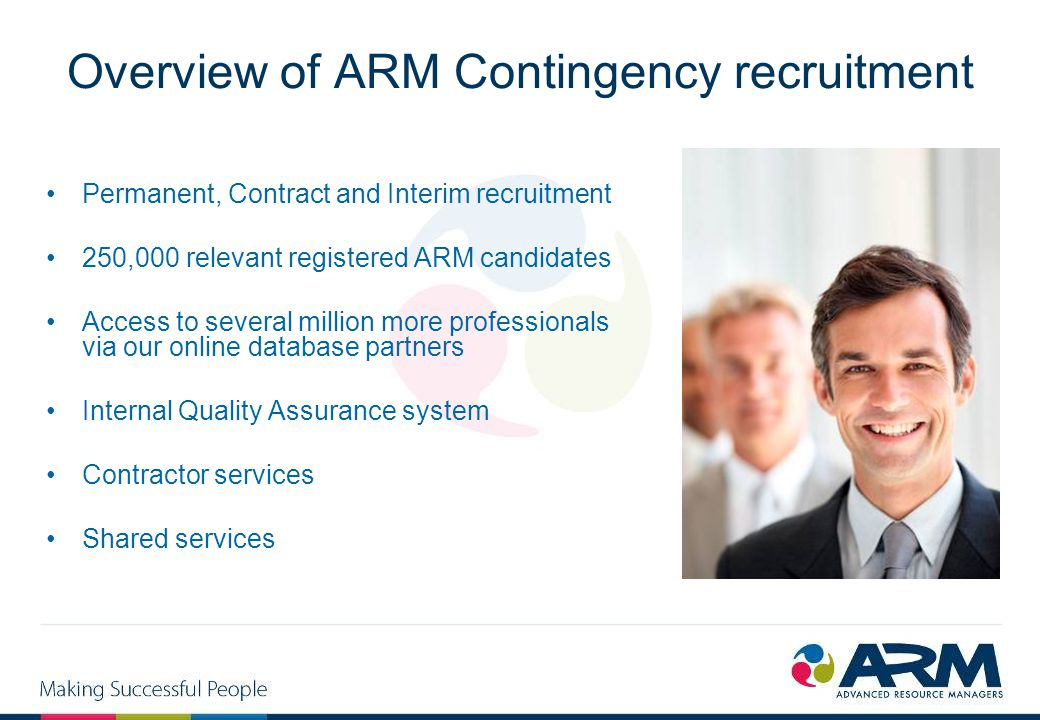 Overview of ARM Contingency recruitment Permanent, Contract and Interim recruitment 250,000 relevant registered ARM candidates Access to several milli