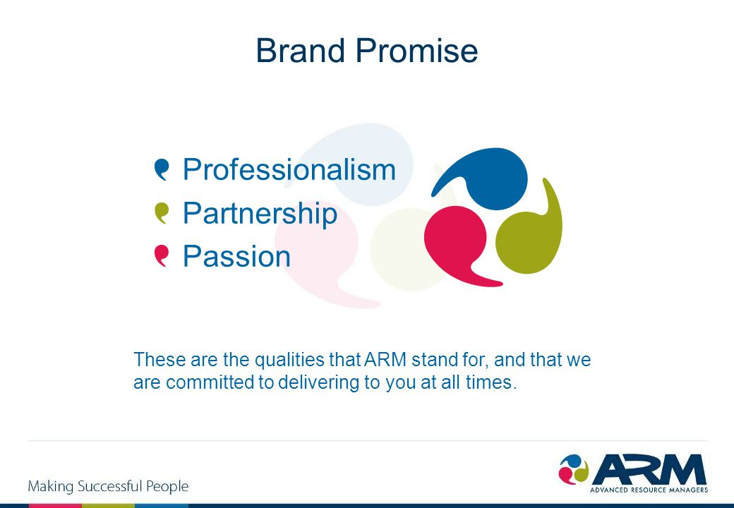 Brand Promise Professionalism Partnership Passion These are the qualities that ARM stand for, and that we are committed to delivering to you at all ti
