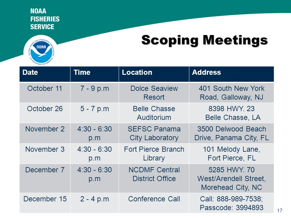 17 Scoping Meetings DateTimeLocationAddress October 117 - 9 p.mDolce Seaview Resort 401 South New York Road, Galloway, NJ October 265 - 7 p.mBelle Chasse Auditorium 8398 HWY.