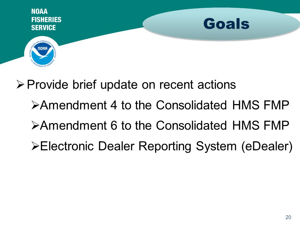 20  Provide brief update on recent actions  Amendment 4 to the Consolidated HMS FMP  Amendment 6 to the Consolidated HMS FMP  Electronic Dealer Reporting System (eDealer) Goals