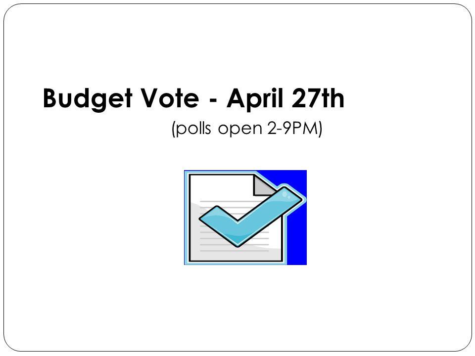 Budget Vote - April 27th (polls open 2-9PM)
