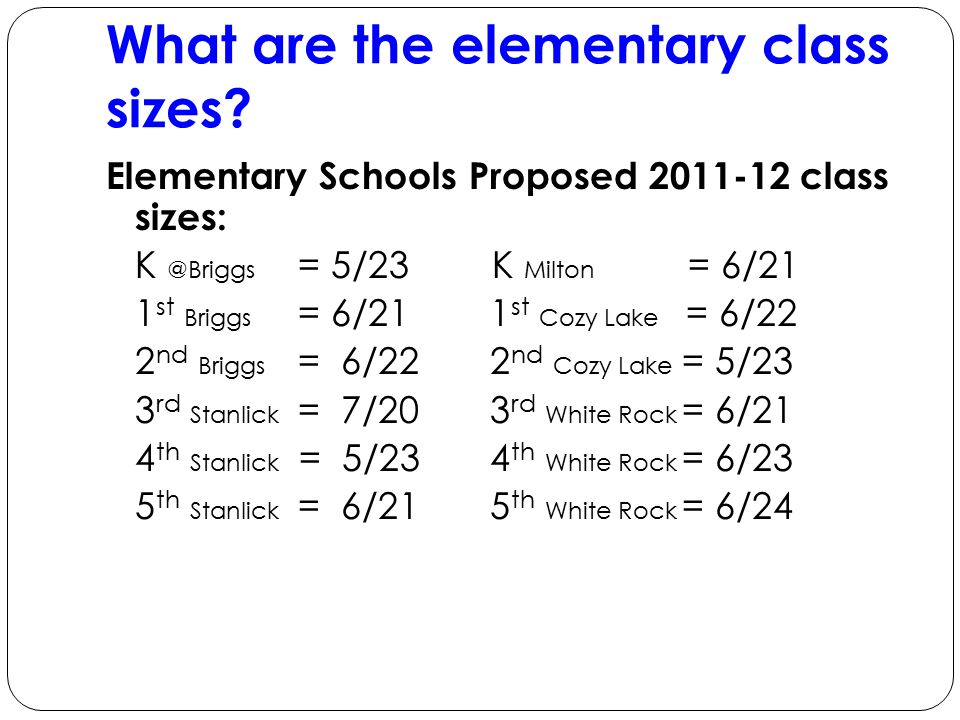 What are the elementary class sizes.