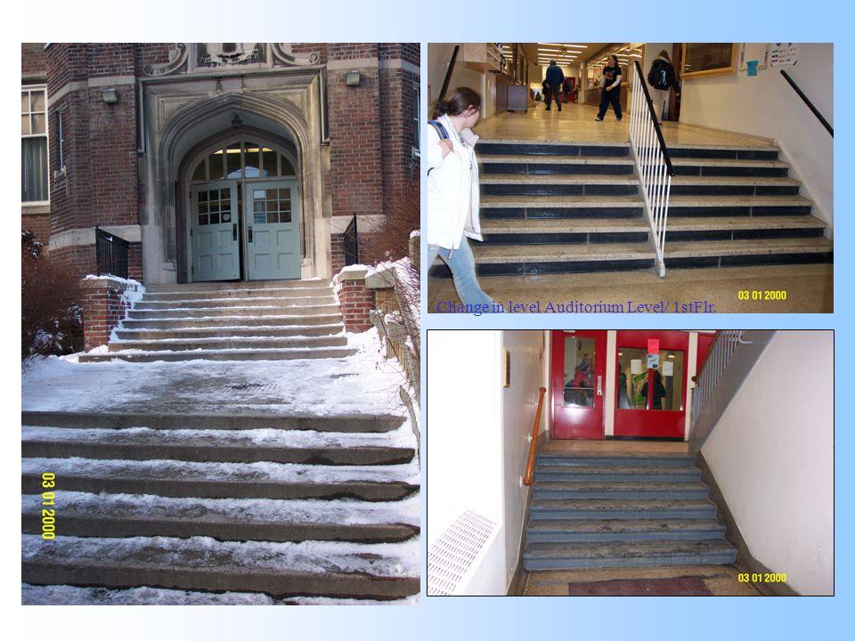 Change in level Cafeteria Level/ 2nd Flr.Change in level Auditorium Level/ 1stFlr. North Entrance 1