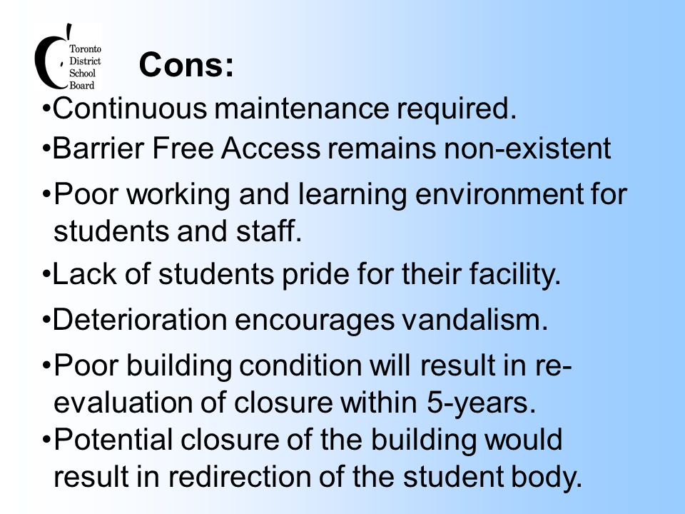 Cons: Continuous maintenance required. Lack of students pride for their facility. Barrier Free Access remains non-existent Poor working and learning e