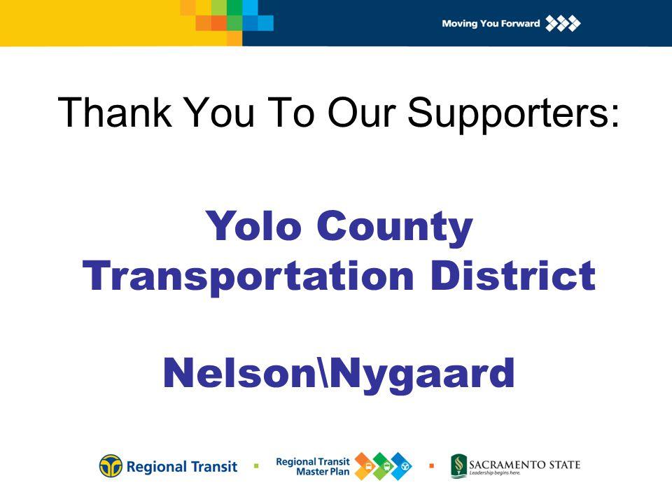 Thank You To Our Bus Providers: Stephen Walsh - Alexander Dennis - Double Decker Bill Coryell - NABI BRT Bus Donna Kelsay - San Joaquin RTD - Gillig John Gresham - Startrans