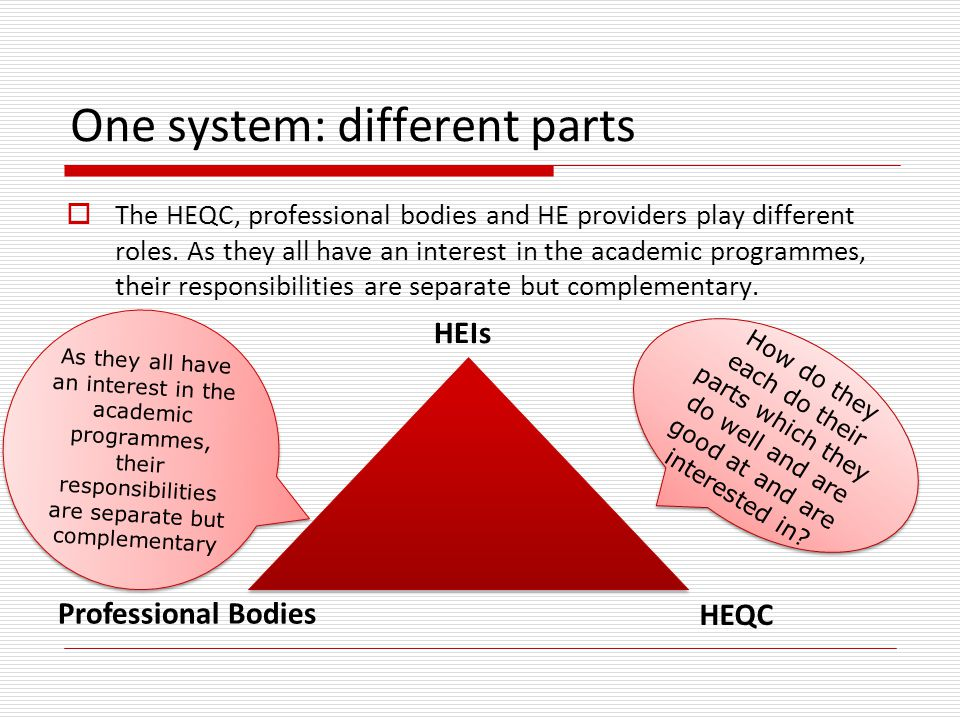  The HEQC, professional bodies and HE providers play different roles. As they all have an interest in the academic programmes, their responsibilities