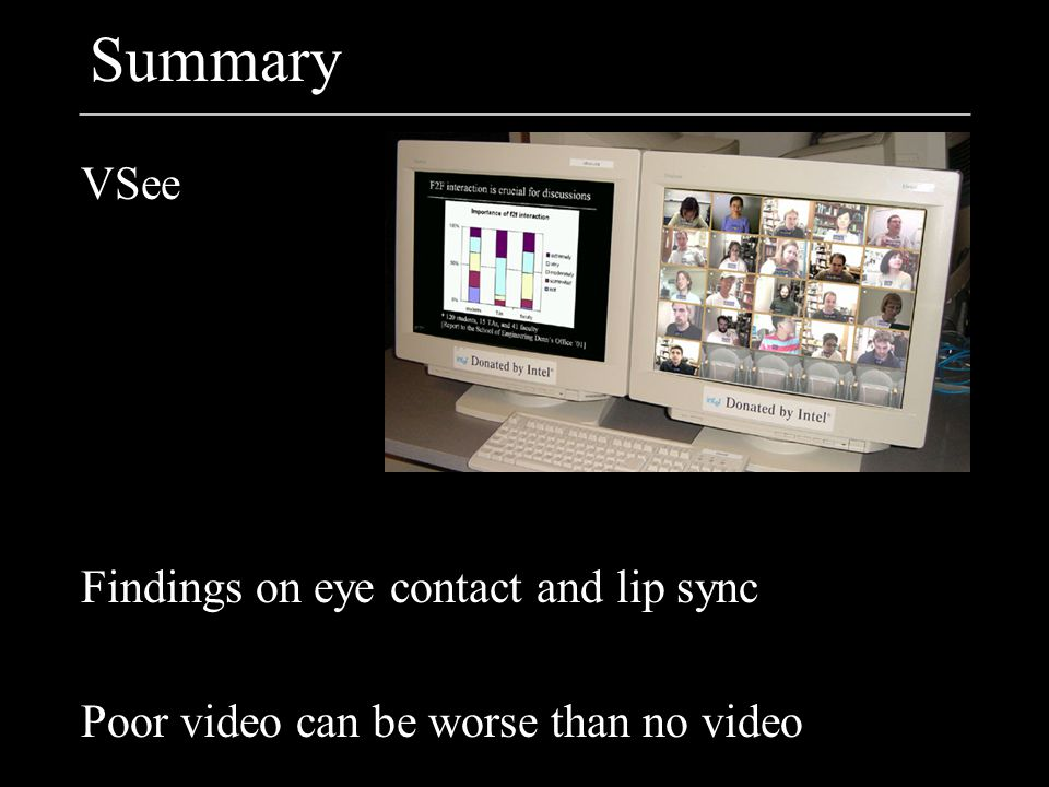 Summary VSee Findings on eye contact and lip sync Poor video can be worse than no video