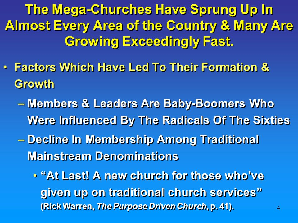 5 Factors Which Have Led To Their Formation & Growth (cont.) –The Downward Moral Spiral Of Mainstream Denominational Churches One suggestion made by a committee of the Presbyterian Church was to re-evaluate its definition of sin to reflect the changing mores of society. They also went on to say that the church should sound a call for widening the circle of the faithful—not with children, but with non-reproductive gays, lesbians, and heterosexual singles who practice 'safe sex.' We feel that marriage is not what legitimates sexual gratification ( Roll Over John Calvin, Time Magazine, May 6, 1991, p.