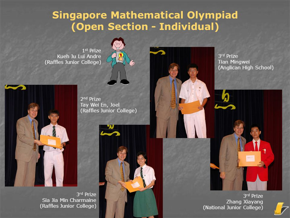 Singapore Mathematical Olympiad (Open Section - Individual) 3 rd Prize Tian Mingwei (Anglican High School) 2 nd Prize Tay Wei En, Joel (Raffles Junior