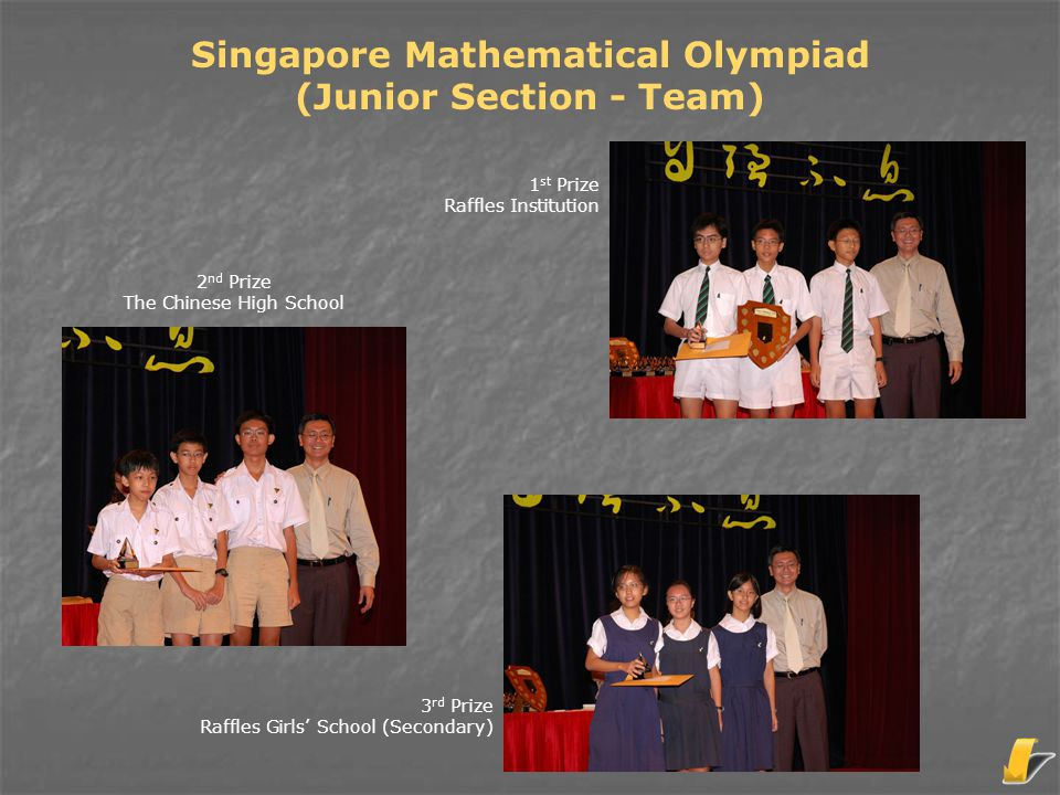 Singapore Mathematical Olympiad (Junior Section - Team) 3 rd Prize Raffles Girls' School (Secondary) 1 st Prize Raffles Institution 2 nd Prize The Chi