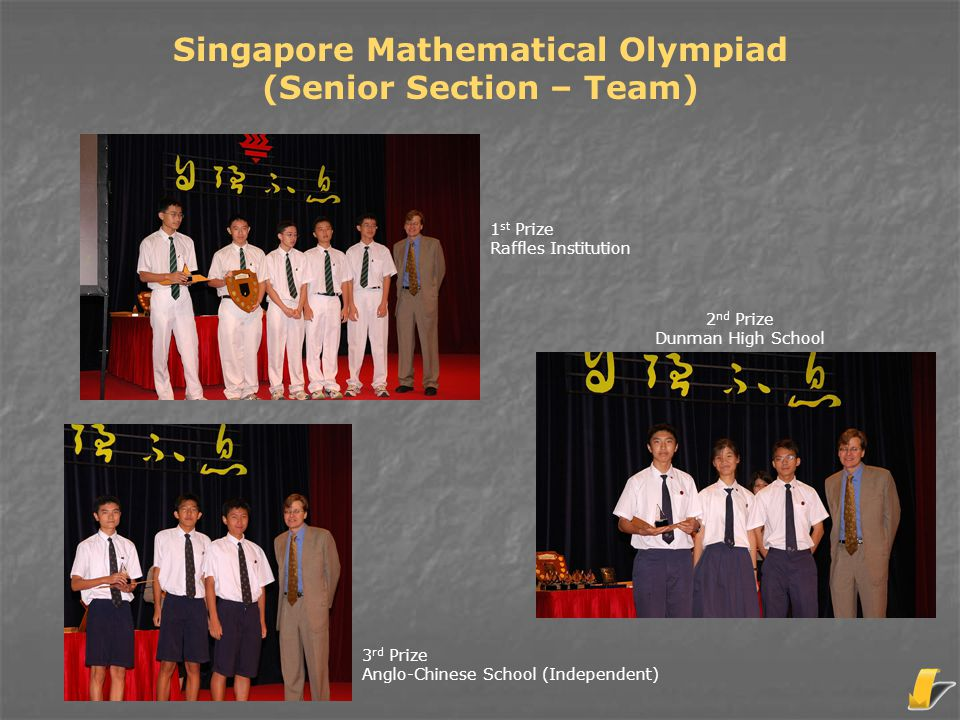 Singapore Mathematical Olympiad (Senior Section - Individual) 2 nd Prize Wang Zhiyan (Raffles Institution) 2 nd Prize Hang Hao Chuien (The Chinese High School) 1 st Prize Zhao Yan (Raffles Institution)