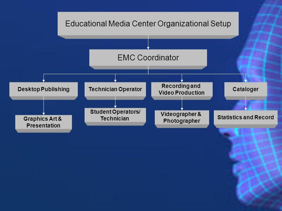 Educational Media Center Organizational Setup EMC Coordinator Desktop PublishingTechnician OperatorCataloger Statistics and Record Student Operators/