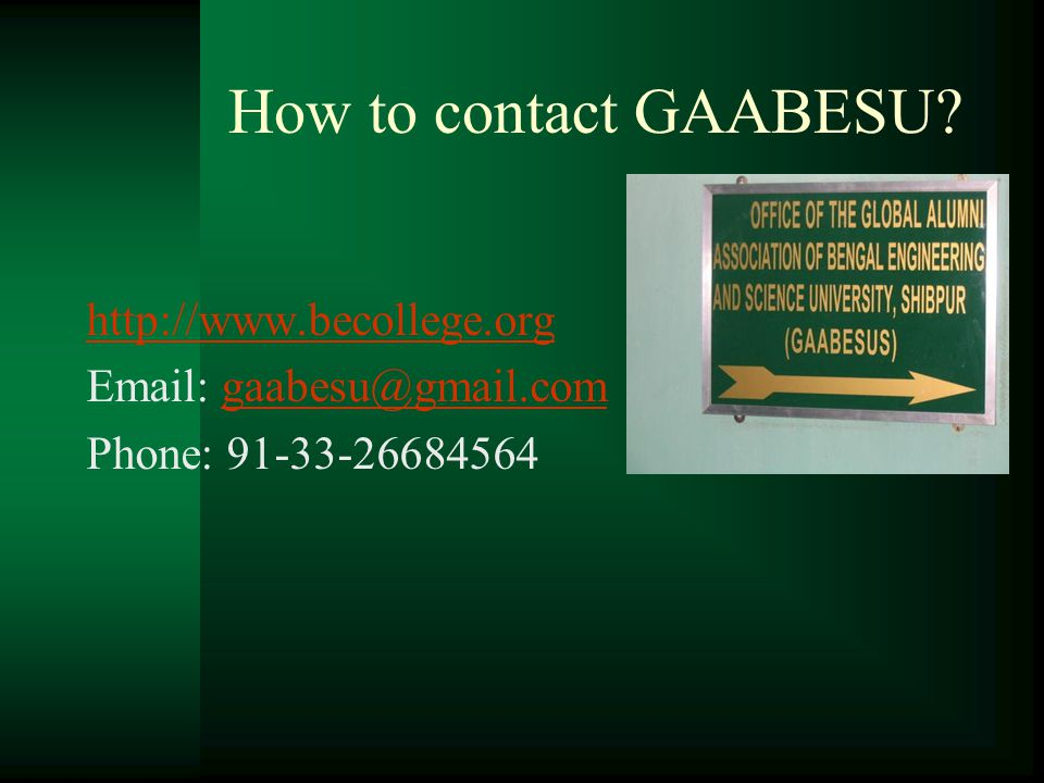 How to contact GAABESU.
