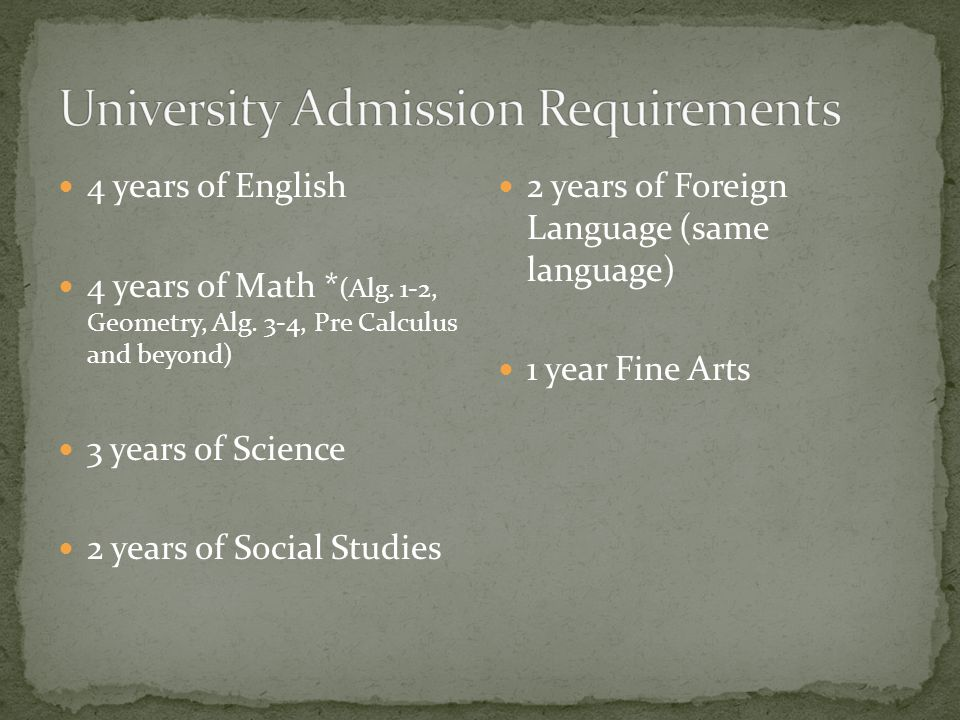 Top 25% of class or ACT 22/SAT 1040 or 3.0 GPA Admission may be granted with one deficiency in no more than two competency areas; deficiencies in both math and science are not acceptable.