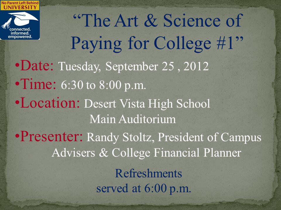 Date: Tuesday, September 25, 2012 Time: 6:30 to 8:00 p.m.