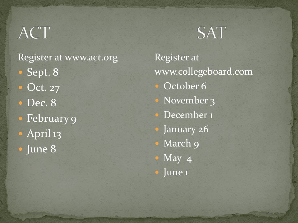 Register at www.act.org Sept. 8 Oct. 27 Dec.