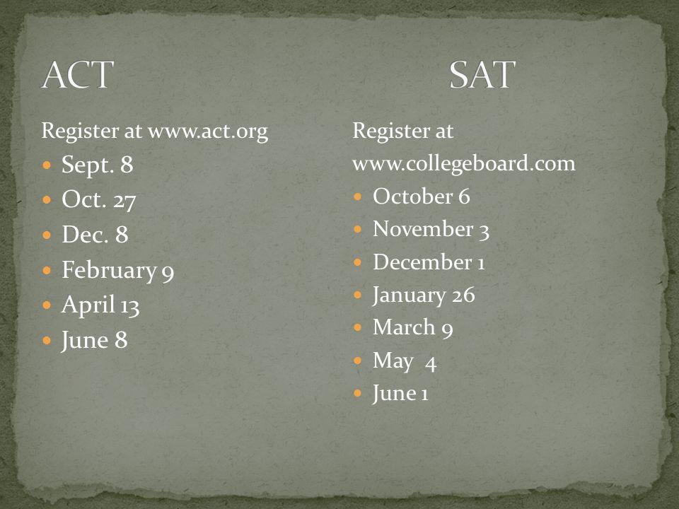 www.princetonreview.com www.collegeboard.com www.act.org Sept.