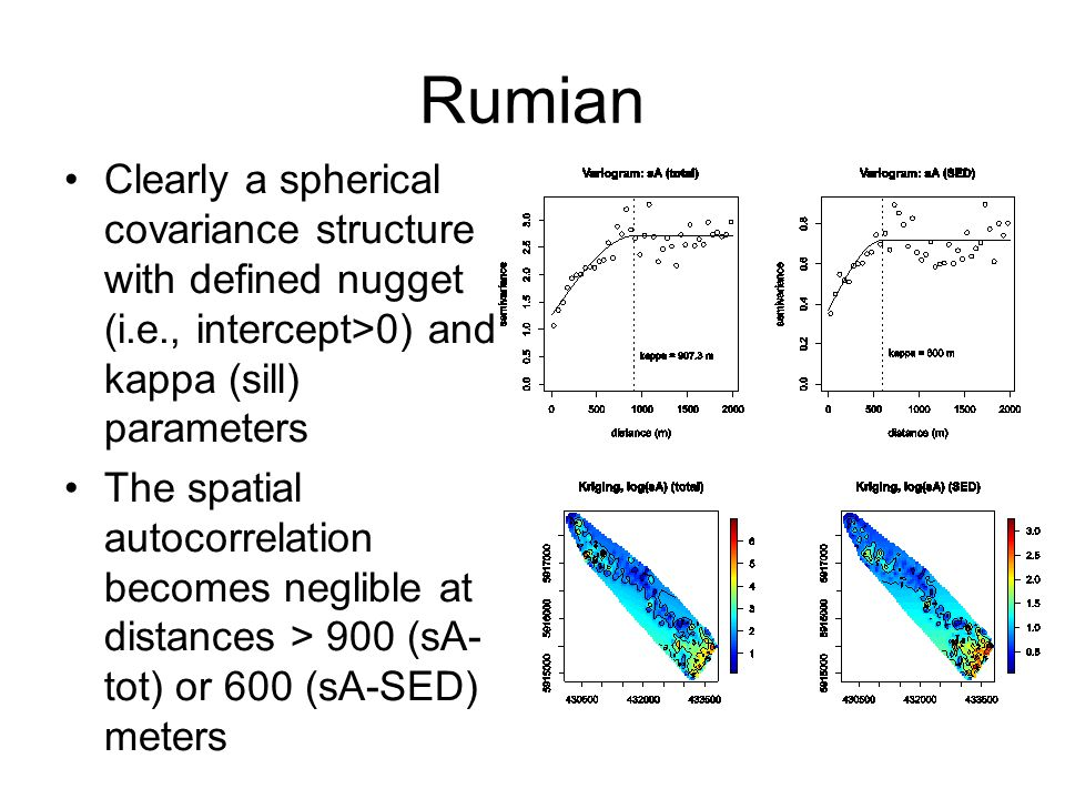 Rumian Clearly a spherical covariance structure with defined nugget (i.e., intercept>0) and kappa (sill) parameters The spatial autocorrelation becomes neglible at distances > 900 (sA- tot) or 600 (sA-SED) meters