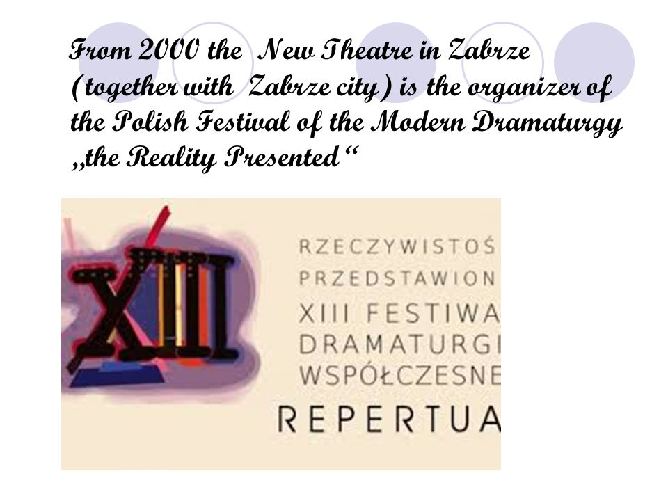 """The award (September 2004) to the New Theatre in Zabrze for the spectacle """" the Vampire , in the direction of Marian Sławi ń ski, on X Polish Contest in Warsaw, organized by the Minister of the Culture, at the participation of the National Theatre in Warsaw and the Relationship of Performers of Polish Scenes, confirmed cultural part of the Zabrze theatre on the map of theatrical Poland - consequently entire Silesian region."""