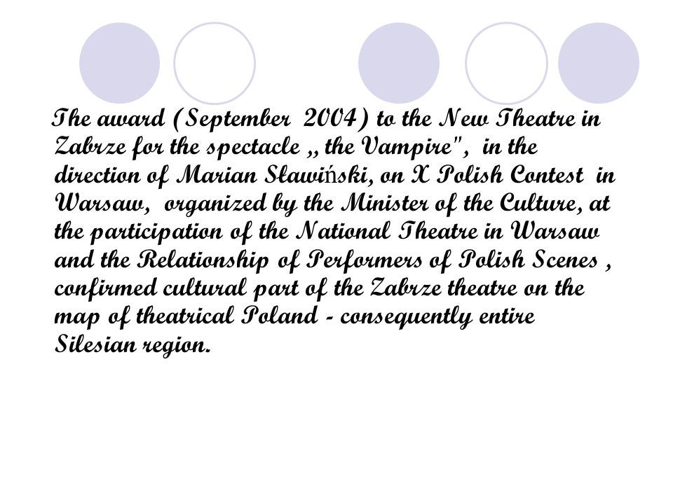 "The award (September 2004) to the New Theatre in Zabrze for the spectacle "" the Vampire , in the direction of Marian Sławi ń ski, on X Polish Contest in Warsaw, organized by the Minister of the Culture, at the participation of the National Theatre in Warsaw and the Relationship of Performers of Polish Scenes, confirmed cultural part of the Zabrze theatre on the map of theatrical Poland - consequently entire Silesian region."