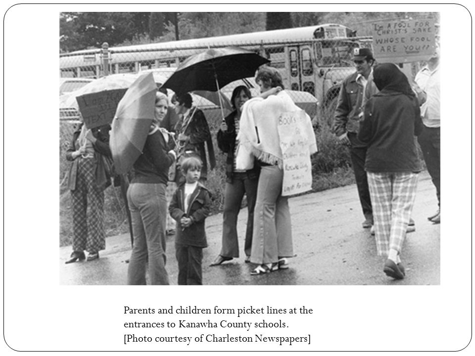 Parents and children form picket lines at the entrances to Kanawha County schools. [Photo courtesy of Charleston Newspapers]