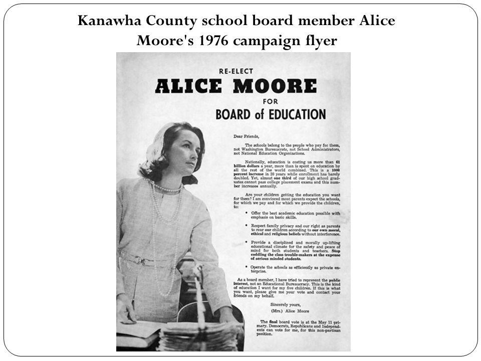 Kanawha County school board member Alice Moore's 1976 campaign flyer