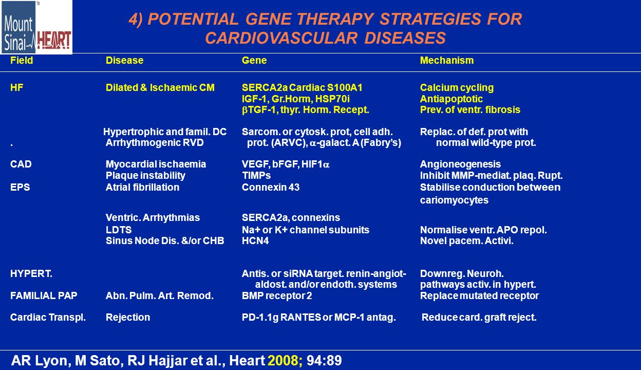 4) POTENTIAL GENE THERAPY STRATEGIES FOR CARDIOVASCULAR DISEASES FieldDiseaseGeneMechanism HFDilated & Ischaemic CMSERCA2a Cardiac S100A1Calcium cycling IGF-1, Gr.Horm, HSP70iAntiapoptotic  TGF-1, thyr.