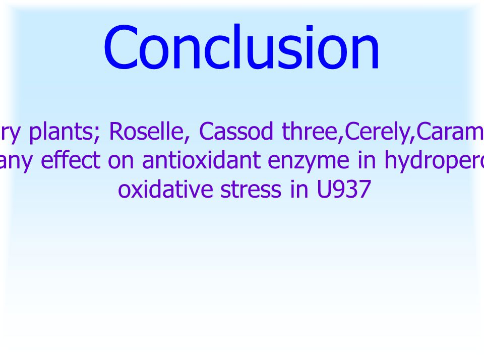Conclusion Dietary plants; Roselle, Cassod three,Cerely,Carambola did not have any effect on antioxidant enzyme in hydroperoxide-induced oxidative stress in U937