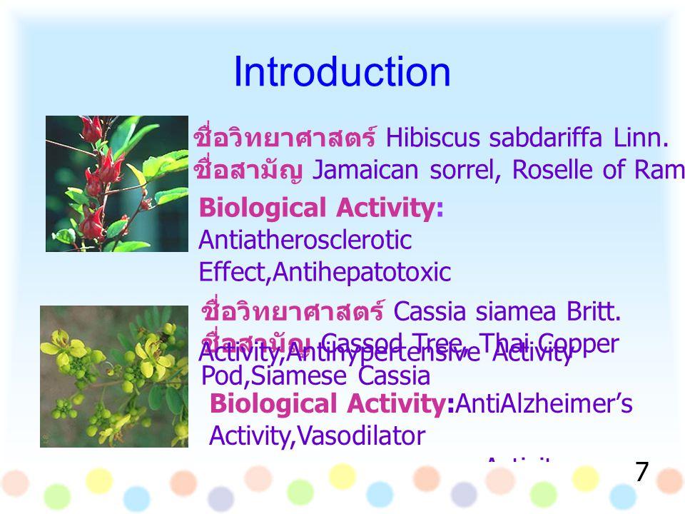 ชื่อวิทยาศาสตร์ Hibiscus sabdariffa Linn. ชื่อสามัญ Jamaican sorrel, Roselle of Rama ชื่อวิทยาศาสตร์ Cassia siamea Britt. ชื่อสามัญ Cassod Tree, Thai