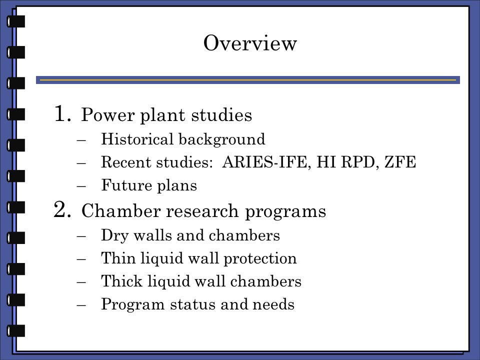 Part I: Power plant studies