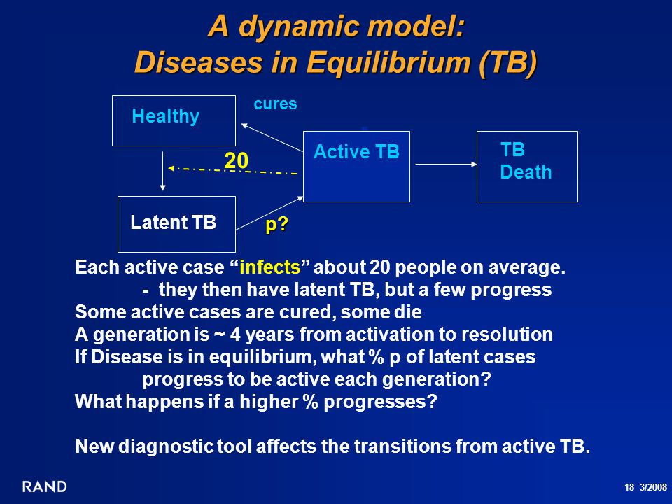 "18 3/2008 A dynamic model: Diseases in Equilibrium (TB) Active TB TB Death cures Healthy Latent TB Each active case ""infects"" about 20 people on avera"