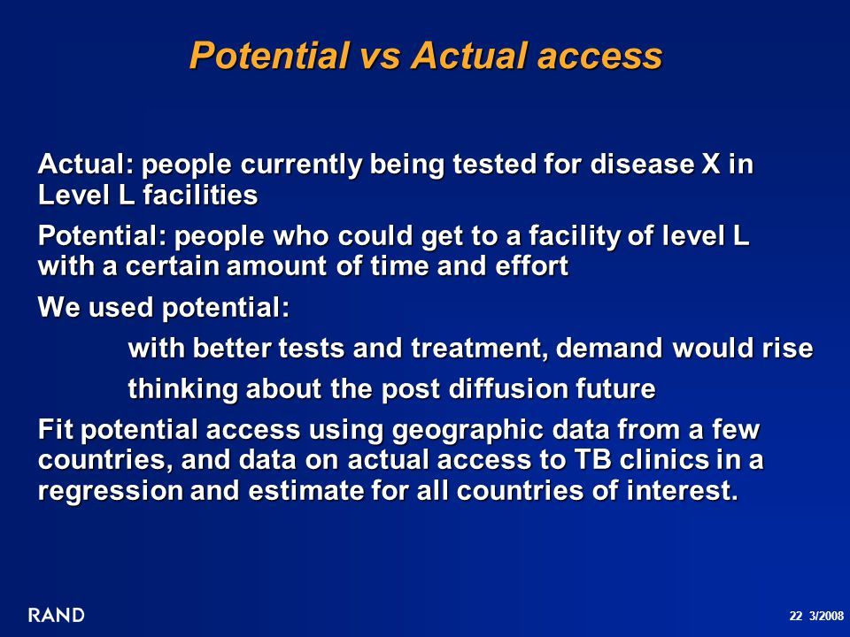 22 3/2008 Potential vs Actual access Actual: people currently being tested for disease X in Level L facilities Potential: people who could get to a fa