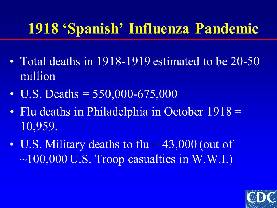 1918 'Spanish' Influenza Pandemic Total deaths in 1918-1919 estimated to be 20-50 million U.S.