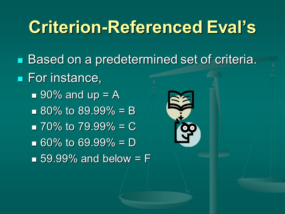 Criterion-Referenced Eval's Based on a predetermined set of criteria. Based on a predetermined set of criteria. For instance, For instance, 90% and up