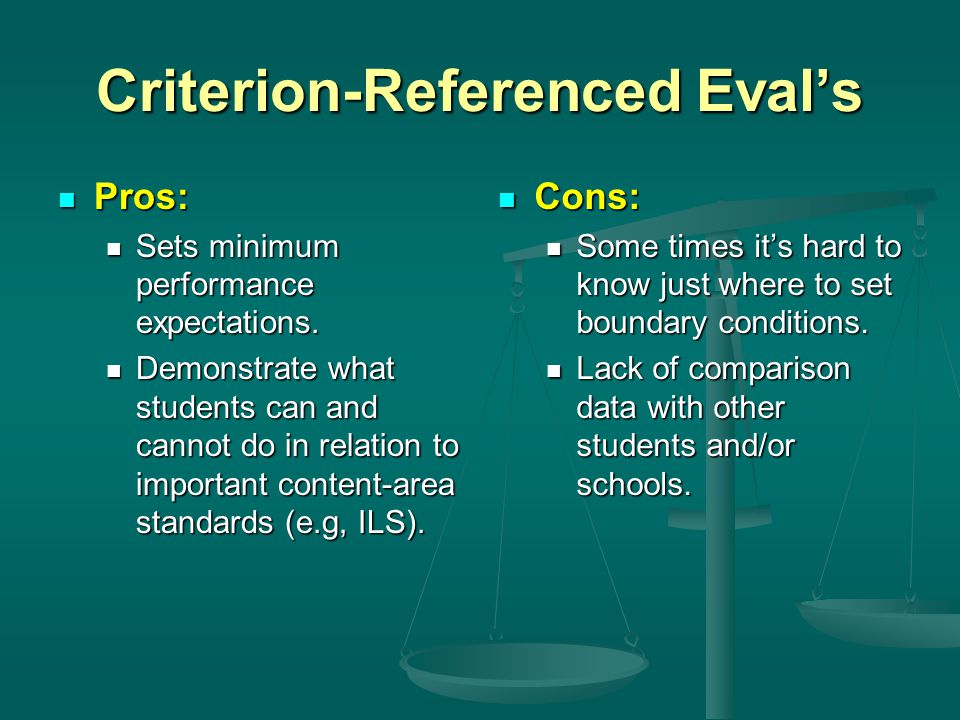 Criterion-Referenced Eval's Pros: Pros: Sets minimum performance expectations. Sets minimum performance expectations. Demonstrate what students can an