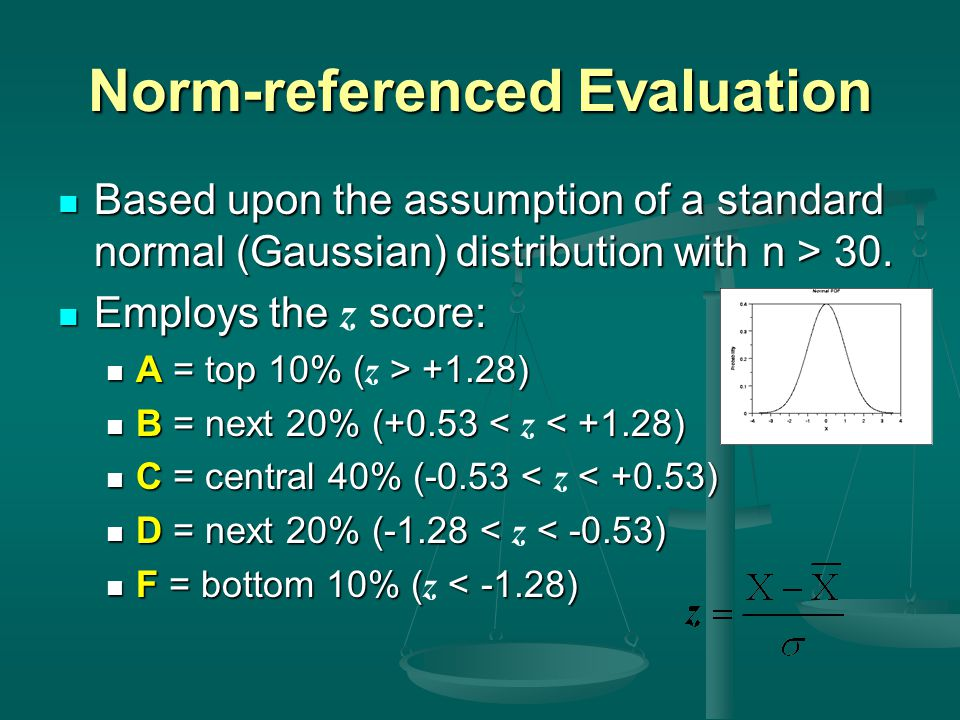 Norm-referenced Evaluation Based upon the assumption of a standard normal (Gaussian) distribution with n > 30. Based upon the assumption of a standard