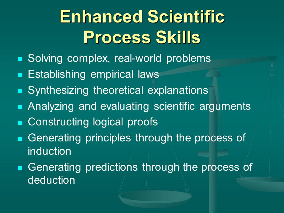 Enhanced Scientific Process Skills Solving complex, real-world problems Establishing empirical laws Synthesizing theoretical explanations Analyzing and evaluating scientific arguments Constructing logical proofs Generating principles through the process of induction Generating predictions through the process of deduction